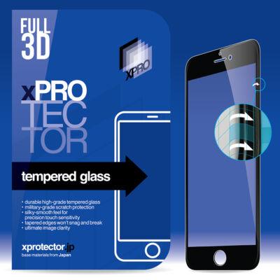 Apple iPhone teljes méretű 3D edzett üveg fekete színben